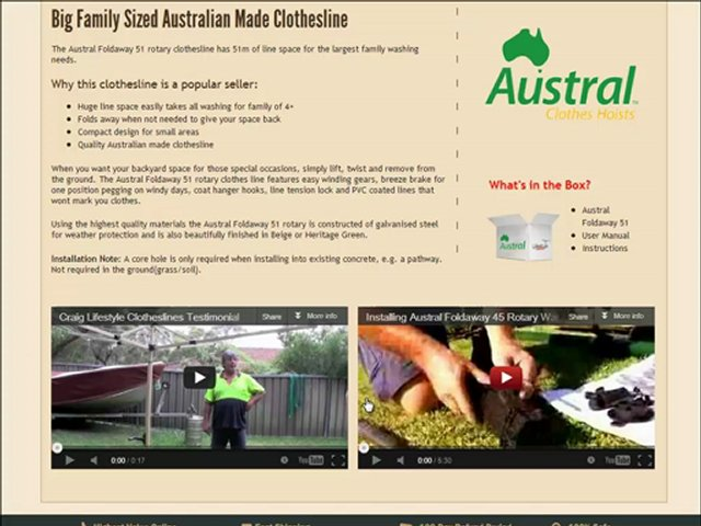 Video Review for Austral Foldaway 51 Rotary Clothes Line