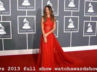 HD Rihanna Red Dress 2013 Grammys