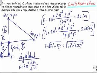 Calcular fuerza resultante entre tres cargas en triangulo rectangulo campo electrico