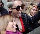 Braless Miley Cyrus Almost Has a Wardrobe Malfunction At NY Fashion Week