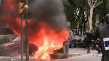 Disturbios entre estudiantes y Mossos en Barcelona