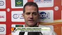 Conférence de presse Stade Lavallois - Clermont Foot : Philippe  HINSCHBERGER (LAVAL) - Régis BROUARD (CFA) - saison 2012/2013