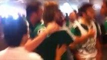 Briga completa da torcida Mancha Verde com os jogadores do Palmeiras