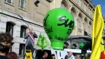 1/5 : Chaîne humaine anti-nucléaire à Paris St Lazare contre la SNCF et AREVA le 09/03/2013