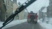 Coutances sous la neige,  embarqué en voiture
