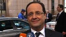Point de presse du président de la République lors de son arrivée au Conseil européen