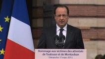 Discours du président de la République en hommage aux victimes des attentats de Toulouse et de Montauban