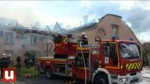 Les sapeurs-pompiers marnais à la lutte contre un feu d'habitation