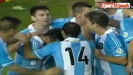[www.sportepoch.com]Goals Highlights - Messi pass a shot Iguassu ball Argentina 3-0 win