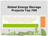 Asia Global Energy Environmental Issues: Global Energy Storage Projects Top 700