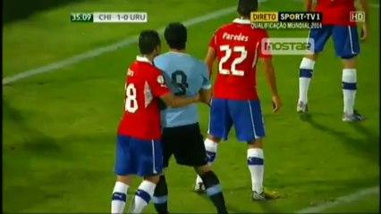 Luis Suarez Punches a Chile Player
