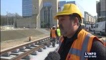 Tramway: Les rails sont arrivés place des Jacobins (Le Mans)