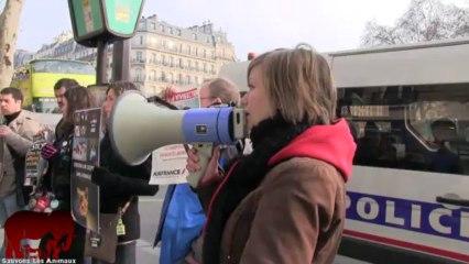 Rassemblement anti vivisection devant les agences d'Air France (30.03.2013)