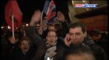 PSG-Barcelone / Les supporters parisiens heureux à la sortie du Parc - 02/04