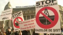 Romanians protest against gas fracking