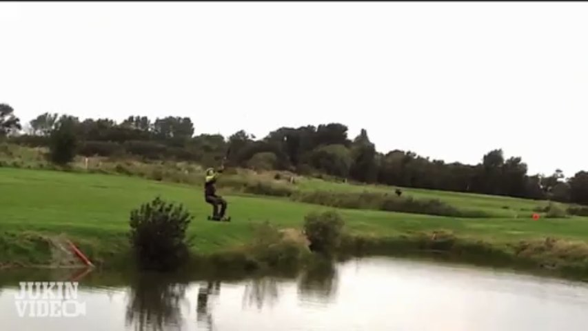 Kite Board Pond Crash – DRAGGED Through Pond!