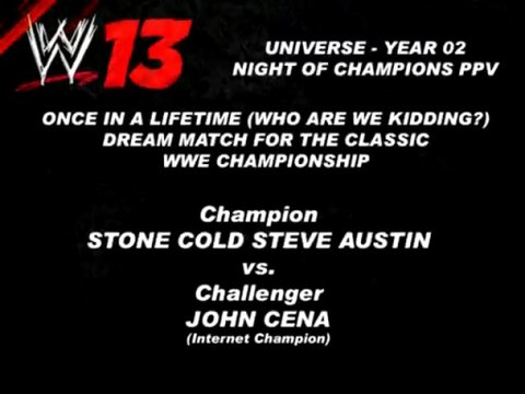 WWE '13 (Wii) - Stone Cold Steve Austin Vs. John Cena (WWE Championship Match)