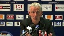 Conférence de presse FC Sochaux-Montbéliard - Girondins de Bordeaux : Eric HELY (FCSM) - Francis GILLOT (FCGB) - saison 2012/2013