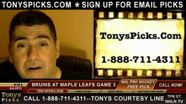 Toronto Maple Leafs versus Boston Bruins Pick Prediction NHL Playoff Game 3 Lines Odds Preview 5-6-2013