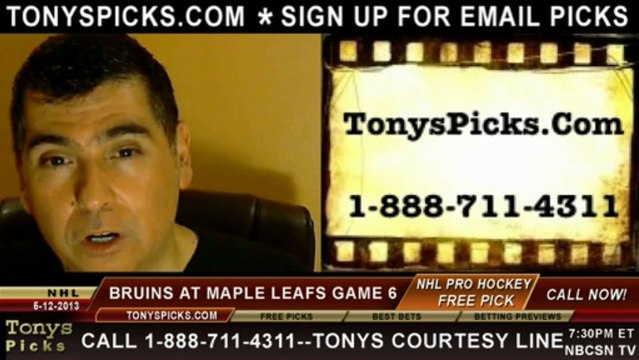 NHL Playoff Pick Game 6 Boston Bruins vs. Toronto Maple Leafs Line Odds Prediction Preview 5-12-2013