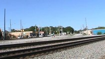 Train meet in Austell Ga. one KCS intermodal west and one Norfolk Southern rail train