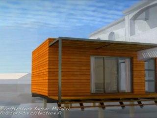 Réhabilitation avec Extension Ossature Bois BBC bio climatique & écologique en Corse par le Cabinet d'Architecture Kayser Milleliri, Architecte DPLG