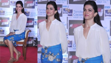 Deepika Padukone In Zara  Pencil Skirt @ Parachute Hair Oil Event