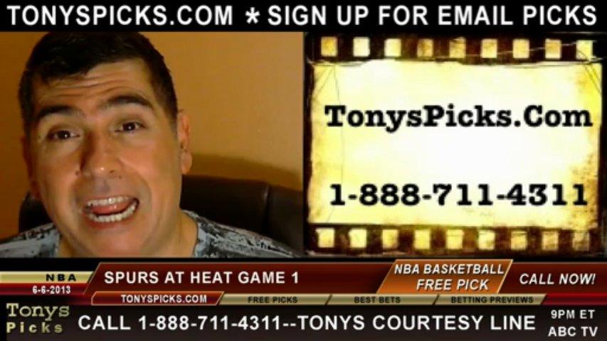 Miami Heat vs. San Antonio Spurs Pick Prediction NBA Pro Basketball Finals Game 1 Preview 6-6-2013
