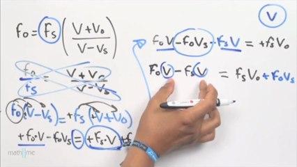 Despejar V de fo=fs[(V Vo)_(V-Vs)]
