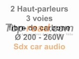 2 Haut-parleurs 3 voies fibre de carbone Ø 200 - 260W - Sdx car audio