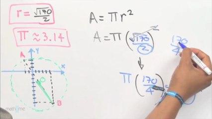 Área y perímetro de una circunferencia, dados sus extremos del diametro