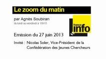 Interview de la Confédération des Jeunes Chercheurs sur France Info