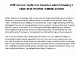 VoIP Service: Factors to Consider when Choosing a Voice over Internet Protocol Service
