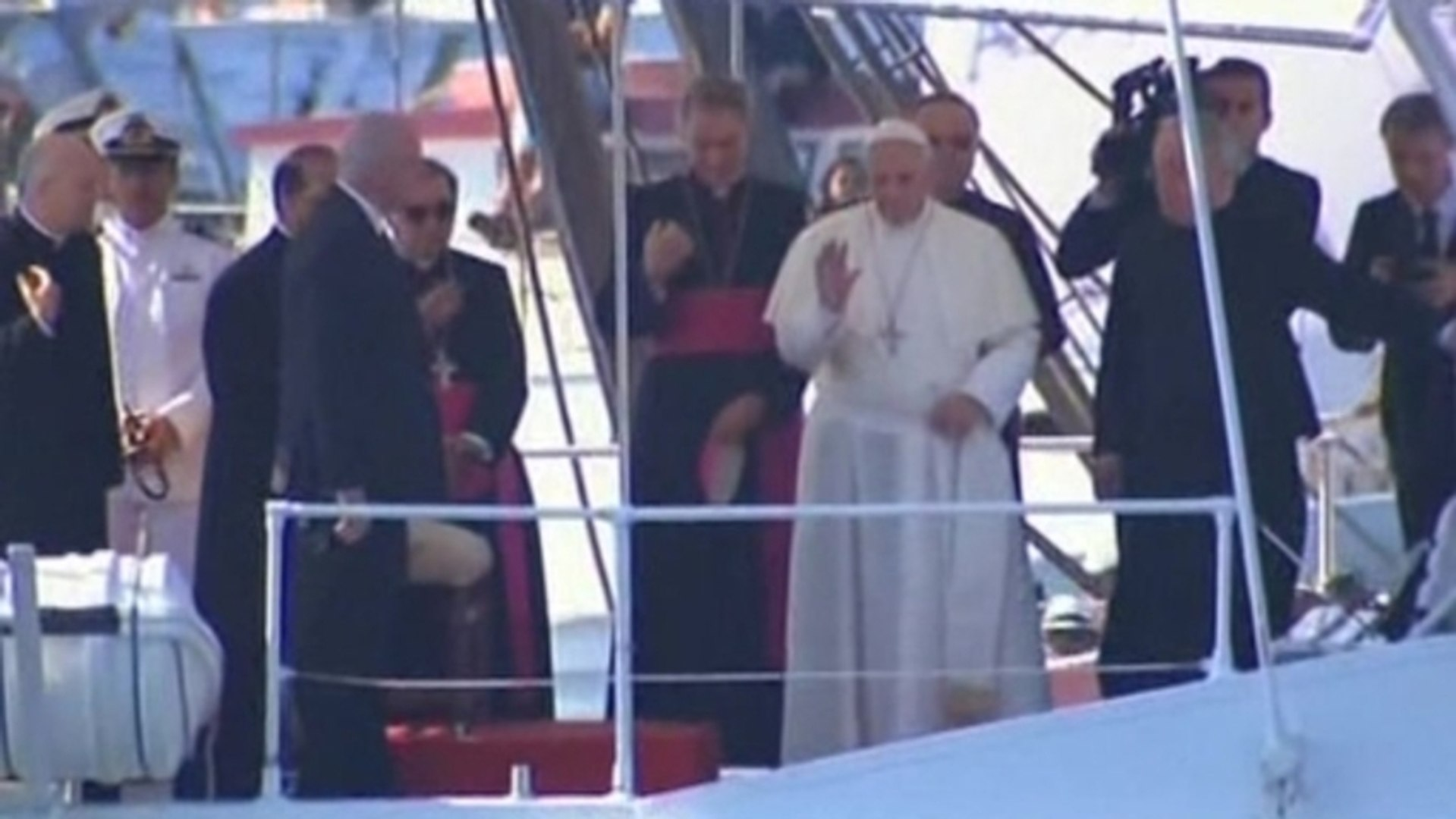 Pope Francis visits Lampedusa on his first official visit outside Rome