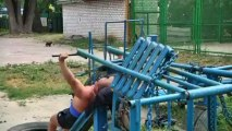 Hardcore outdoor gym has equipment made from WWII tanks