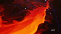 Simulation d'un nuage de gaz désintégré par le trou noir du centre de la Galaxie