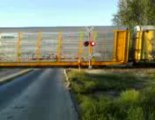 BNSF Train pulling automobile rack cars8-21-2012