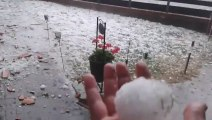 Crazy storm in Germany with giant balls of hail sized like tennis of baseball Balls!!! Epic Summer Storm!!