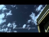 Clouds racing across the building in America