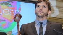 Ashton Kutcher Rings The Bell At The NYSE Pretending He Is Steve Jobs