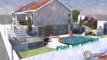 Plan de jadin 3d-plan de maison. Architecture du jardin, maison individuelle.
