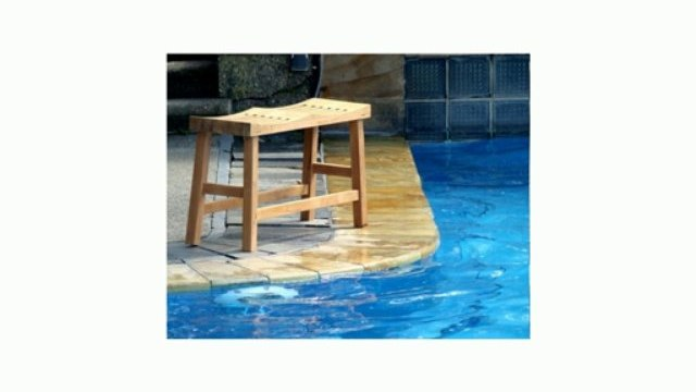 "New Grade A Teak Wood 33"" Double Curved Seat Shower / Bath Room / Pool / Spa Stool Bench Review"