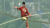 Tightrope walker Adili Wuxor performs stunts in China