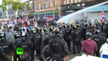 Brutal Belfast Back Riot cops counter bricks with water cannon!! Ireland riots 2013