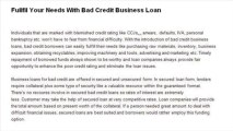 How Business Loans For Bad Credit Offer Quick Cash Help To Small Businesses