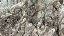 1736.Blue ice of Gangotri Glacier at Gaumukh