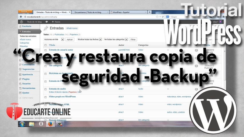 Crear y restaurar copia de seguridad -back up - en Wordpress