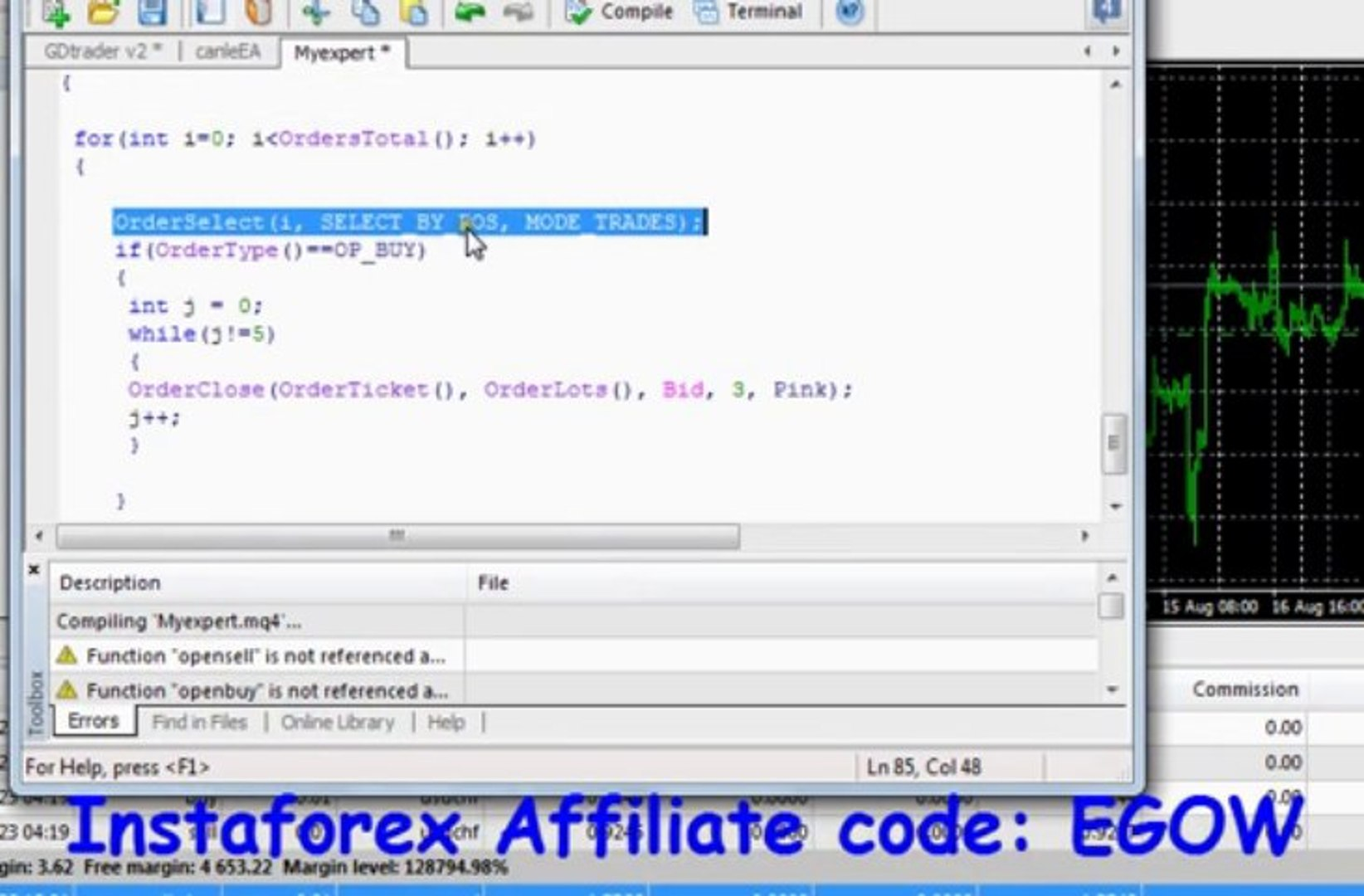 Mql4 Programming tutorial 22 - OrderClose function