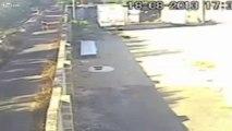 Un jogger fâché jette des petits chiots par-dessus le mur