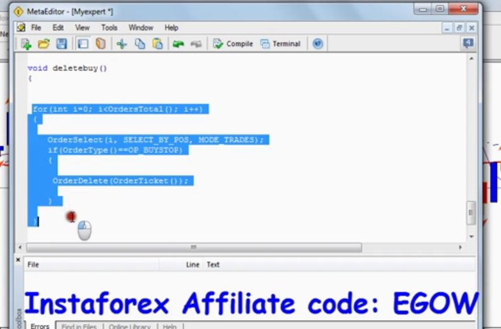 Mql4 Programming tutorial 23 - Orderdelete function
